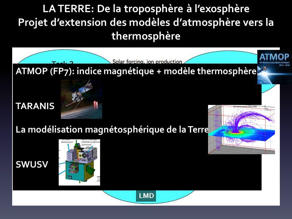 LA TERRE: De la troposphère à lexosphère Projet dextension des modèles datmosphère vers la thermosphère Projet ANR RISVAC (2014-2018) LATMOS -LMDLPC2E - IPAG LMD ATMOP (FP7): indice magnétique + modèle thermosphère TARANIS La modélisation magnétosphérique de la Terre SWUSV