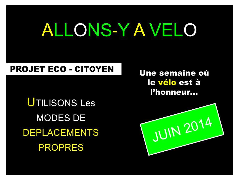 ALLONS - Y A VELO PROJET ECO - CITOYEN U TILISONS Les MODES DE DEPLACEMENTS PROPRES Une semaine où le vélo est à lhonneur… JUIN 2014