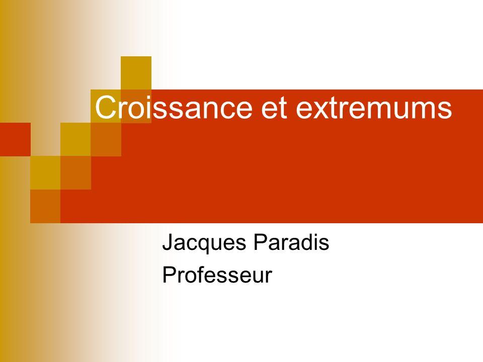 Croissance et extremums Jacques Paradis Professeur