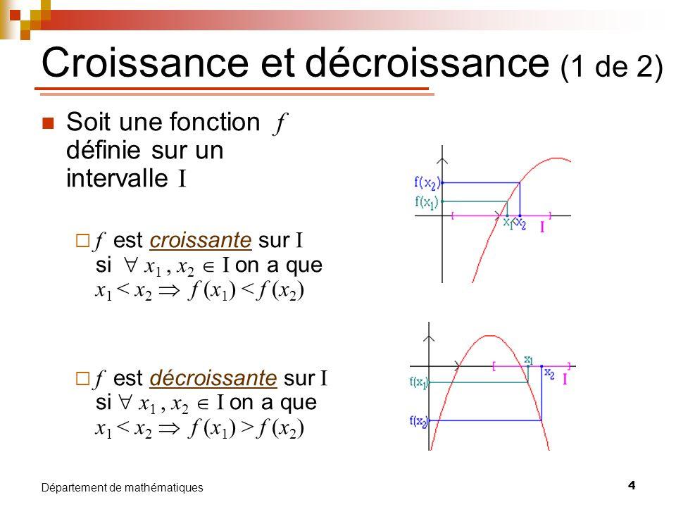 5 Département de mathématiques Croissance et décroissance (2 de 2) Croissance et décroissance et signe de la dérivée première f (x) > 0 sur ]a,b[ f(x) croissante sur [a,b] f (x) < 0 sur ]a,b[ f (x) décroissante sur [a,b] m<0 m>0