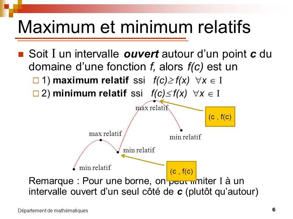 7 Département de mathématiques max rel et absolu min rel et absolu max rel min rel Maximum et minimum absolus Soit une fonction f définie sur son domaine D, alors f(c) est un 1) maximum absolu ssi f(c) f(x) x D 2) minimum absolu ssi f(c) f(x) x D Remarque : Il peut arriver quune fonction naie pas de maximum ou minimum absolu.