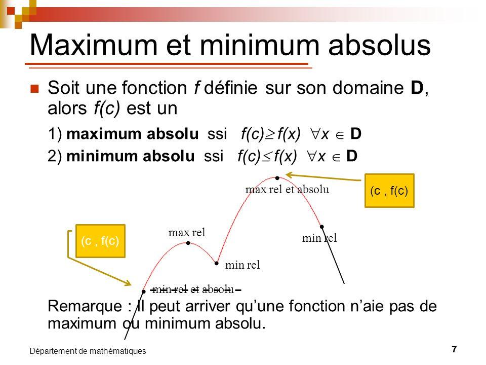 8 Département de mathématiques Si une fonction f atteint un extremum relatif en une valeur c de son domaine, alors : f(c) = 0 ou f(c) nexiste pas Nombre critique de f : une valeur c du domaine de f pour laquelle f(c) = 0 ou f(c) nexiste pas.