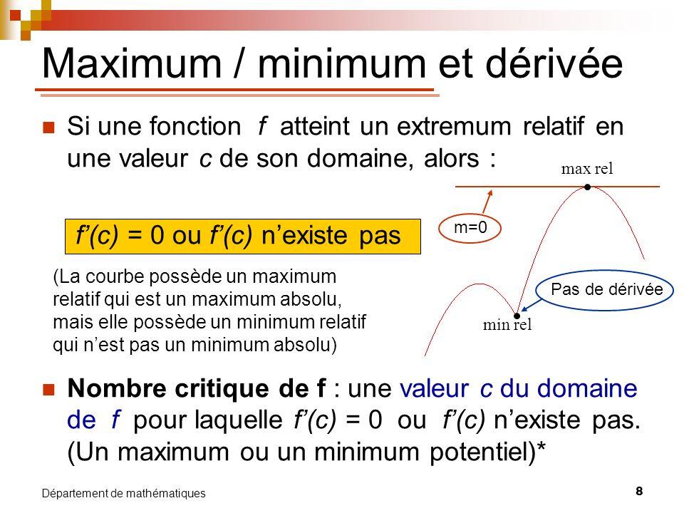 8 Département de mathématiques Si une fonction f atteint un extremum relatif en une valeur c de son domaine, alors : f(c) = 0 ou f(c) nexiste pas Nomb