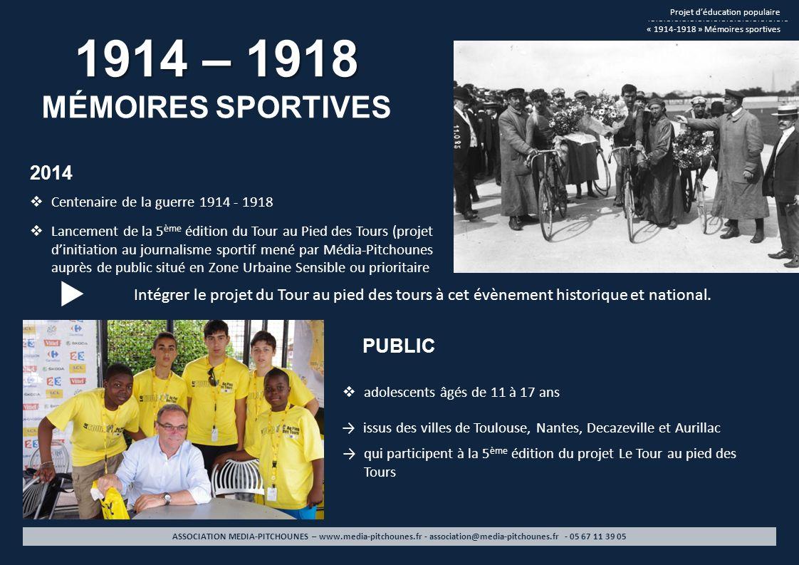 1914 – 1918 MÉMOIRES SPORTIVES Projet déducation populaire « 1914-1918 » Mémoires sportives ASSOCIATION MEDIA-PITCHOUNES – www.media-pitchounes.fr - a