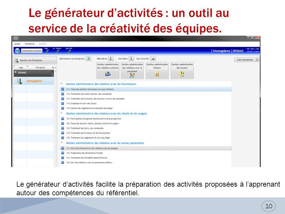 Le générateur dactivités : un outil au service de la créativité des équipes. 10 Le générateur dactivités facilite la préparation des activités proposé