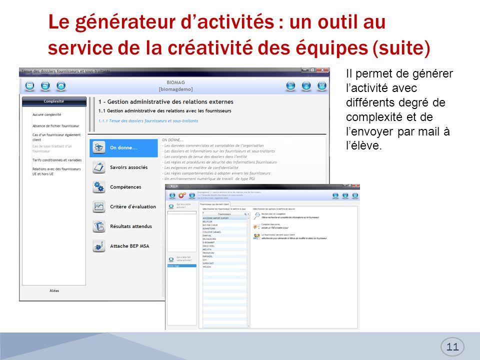 Le générateur dactivités : un outil au service de la créativité des équipes (suite) 11 Il permet de générer lactivité avec différents degré de complexité et de lenvoyer par mail à lélève.