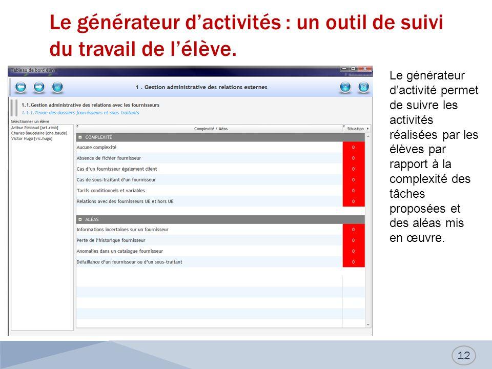 Le générateur dactivités : un outil de suivi du travail de lélève. 12 Le générateur dactivité permet de suivre les activités réalisées par les élèves