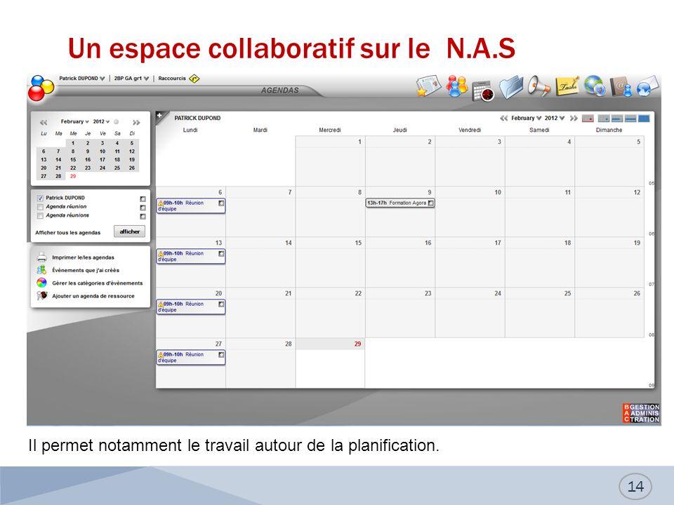 Un espace collaboratif sur le N.A.S 14 Il permet notamment le travail autour de la planification.
