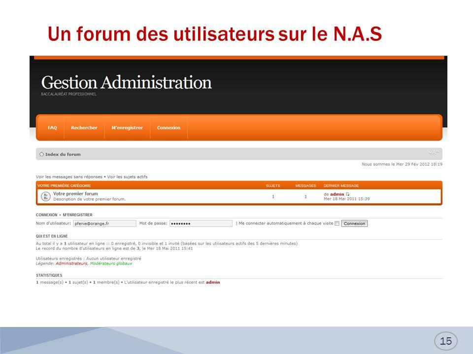 Un forum des utilisateurs sur le N.A.S 15