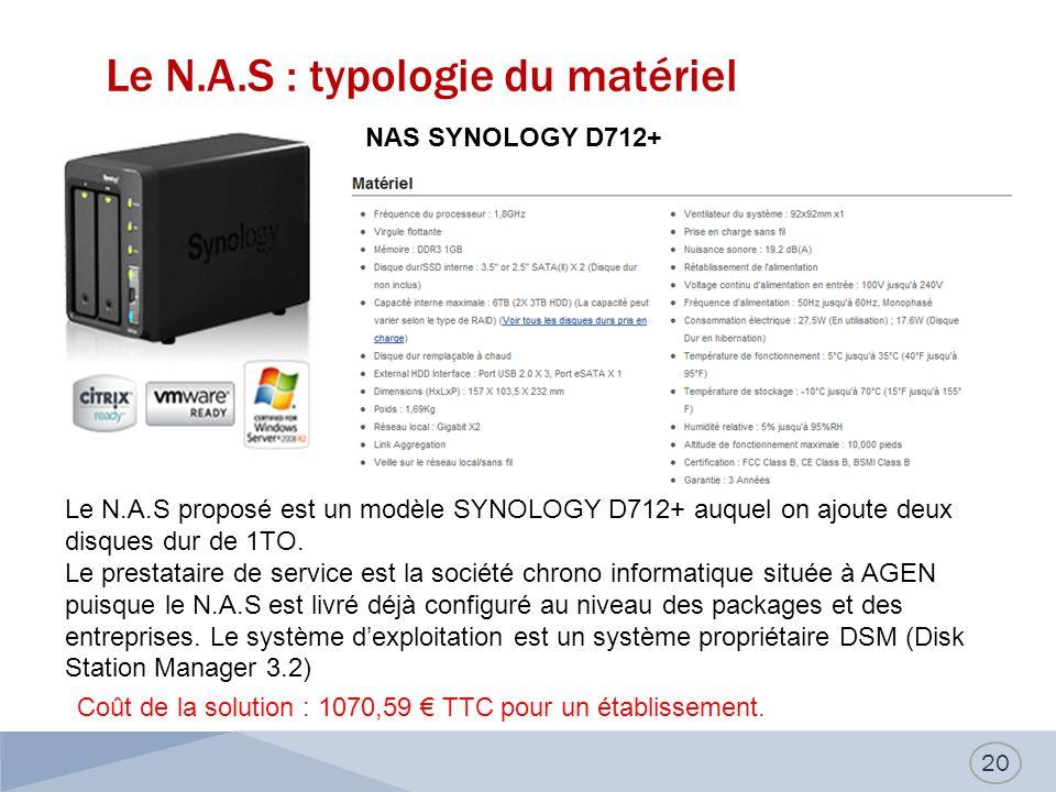 Le N.A.S : typologie du matériel 20 NAS SYNOLOGY D712+ Le N.A.S proposé est un modèle SYNOLOGY D712+ auquel on ajoute deux disques dur de 1TO. Le pres