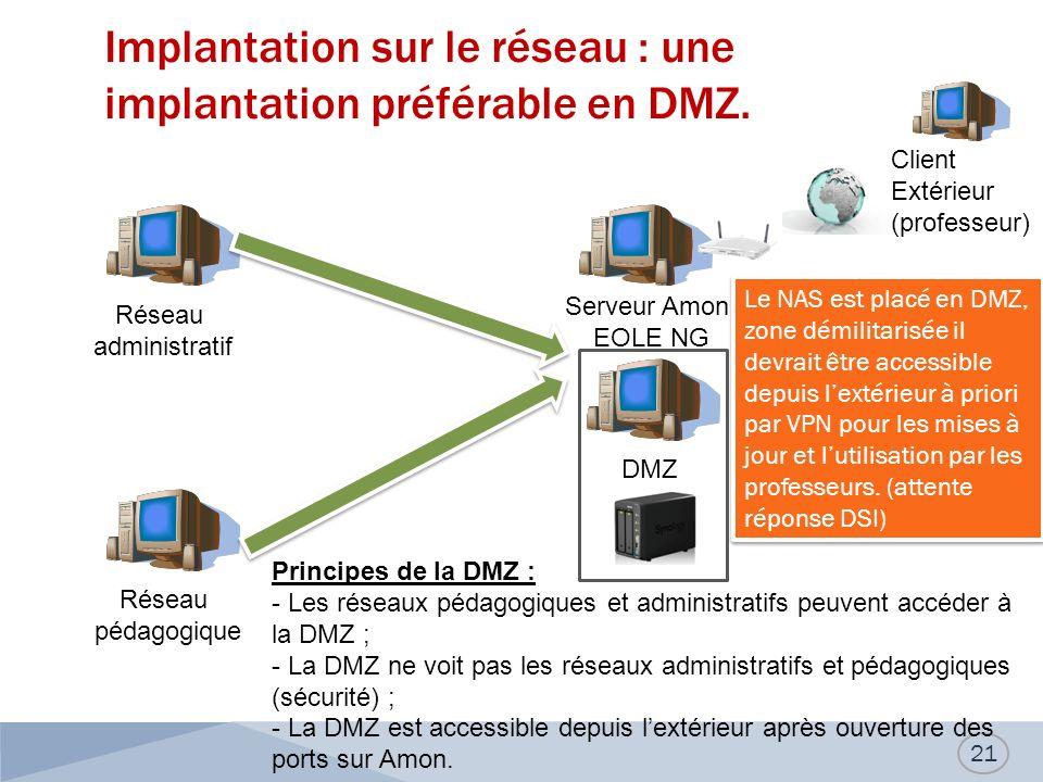 Implantation sur le réseau : une implantation préférable en DMZ. 21 Réseau administratif Réseau pédagogique DMZ Serveur Amon EOLE NG Client Extérieur