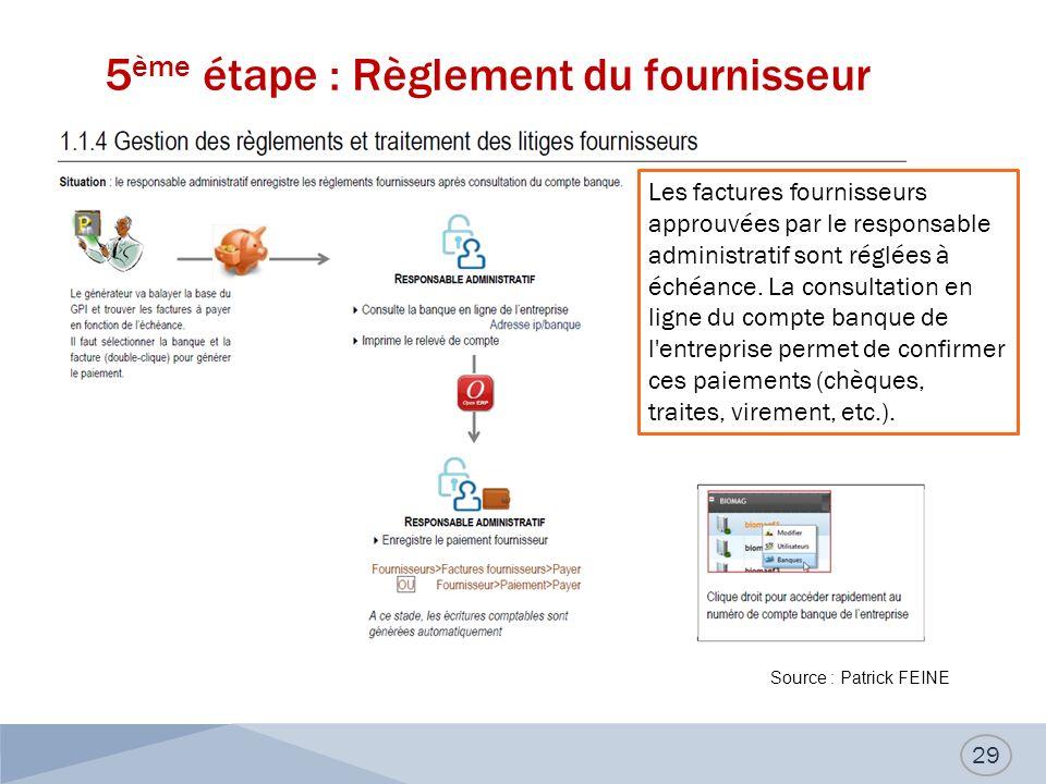 5 ème étape : Règlement du fournisseur 29 Les factures fournisseurs approuvées par le responsable administratif sont réglées à échéance.