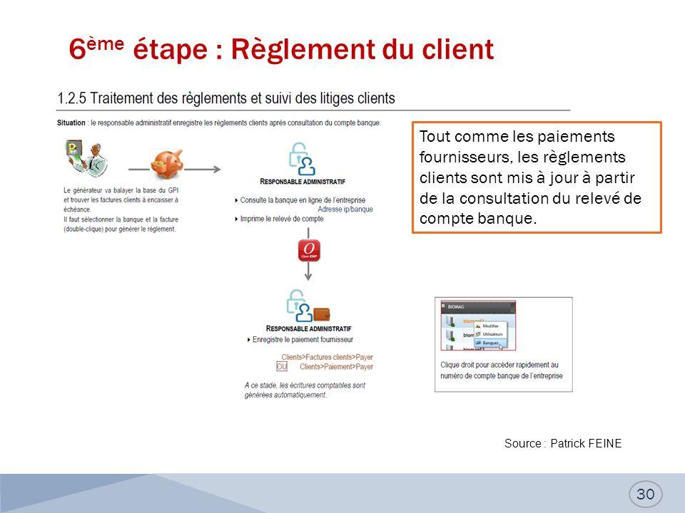 6 ème étape : Règlement du client 30 Tout comme les paiements fournisseurs, les règlements clients sont mis à jour à partir de la consultation du relevé de compte banque.