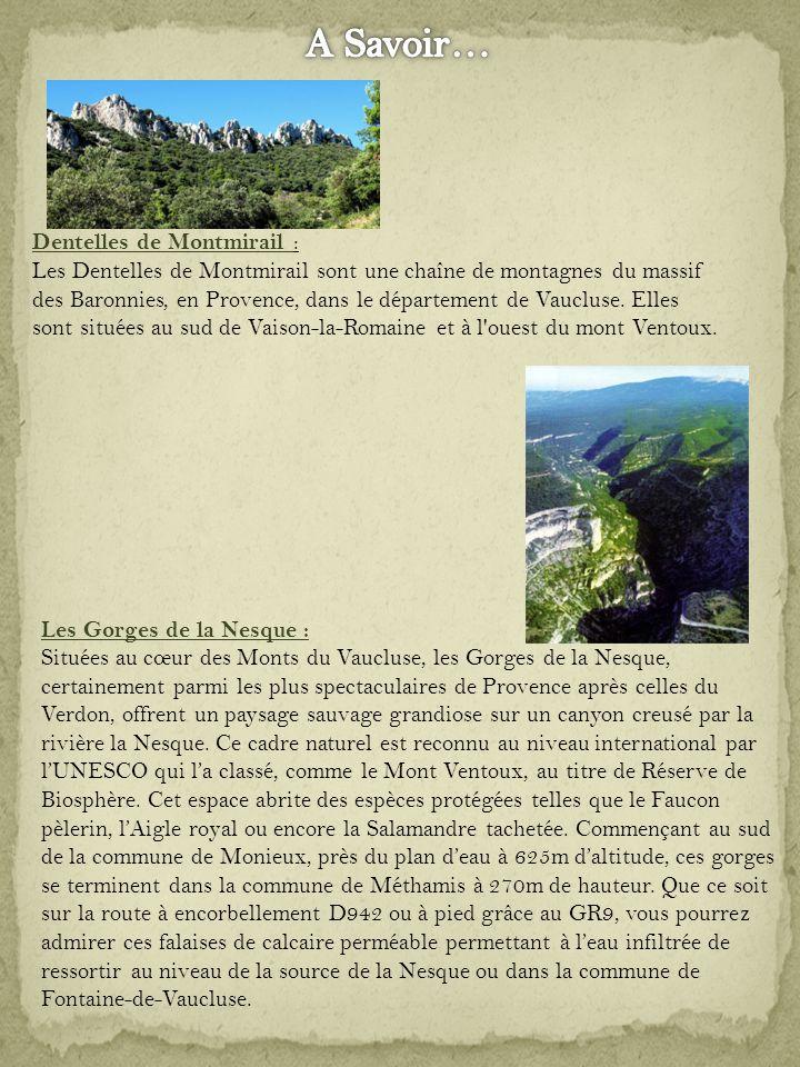 Dentelles de Montmirail : Les Dentelles de Montmirail sont une chaîne de montagnes du massif des Baronnies, en Provence, dans le département de Vaucluse.