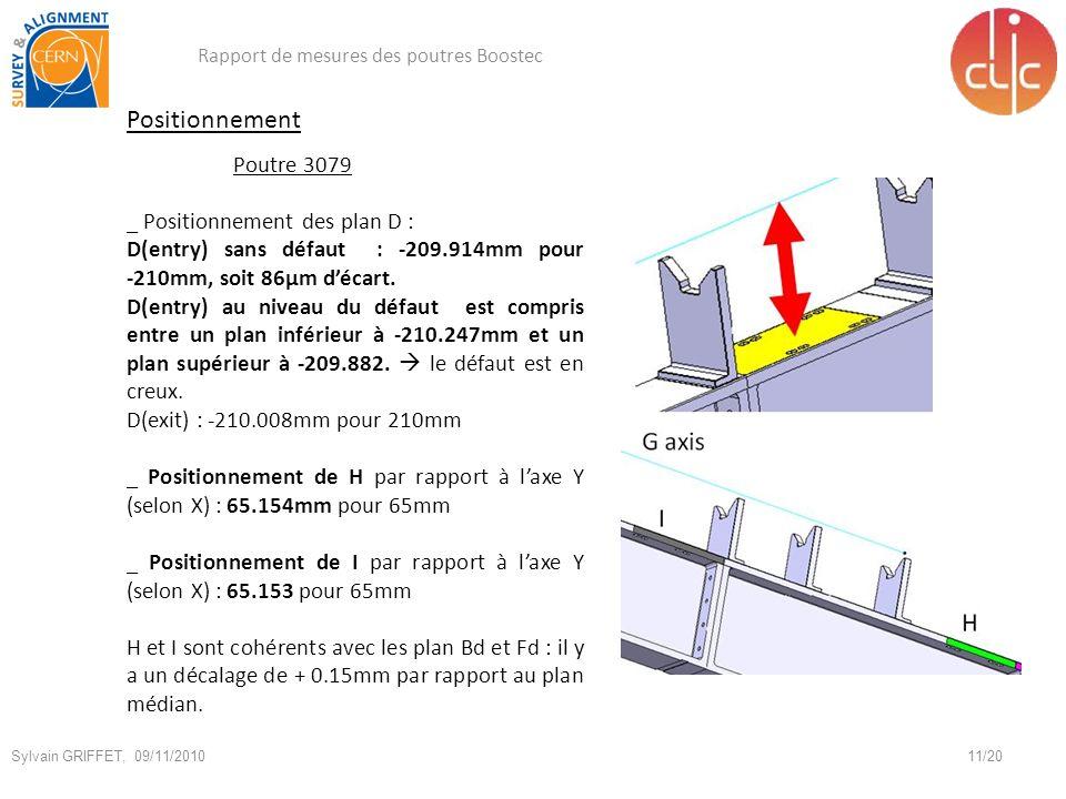Positionnement Poutre 3079 _ Positionnement des plan D : D(entry) sans défaut : -209.914mm pour -210mm, soit 86µm décart.