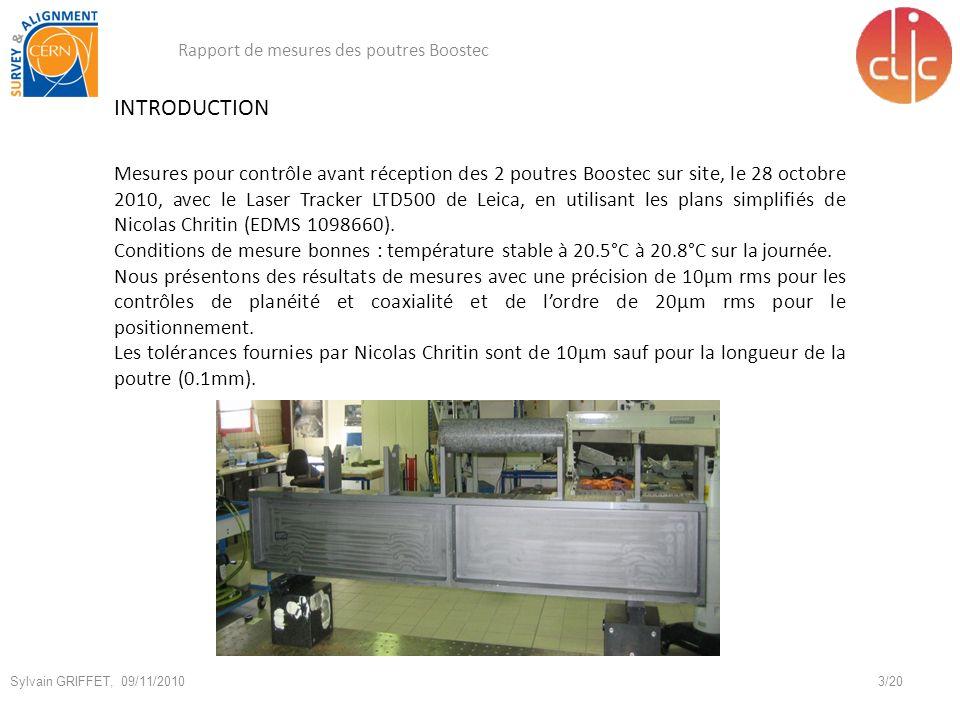 INTRODUCTION Mesures pour contrôle avant réception des 2 poutres Boostec sur site, le 28 octobre 2010, avec le Laser Tracker LTD500 de Leica, en utilisant les plans simplifiés de Nicolas Chritin (EDMS 1098660).