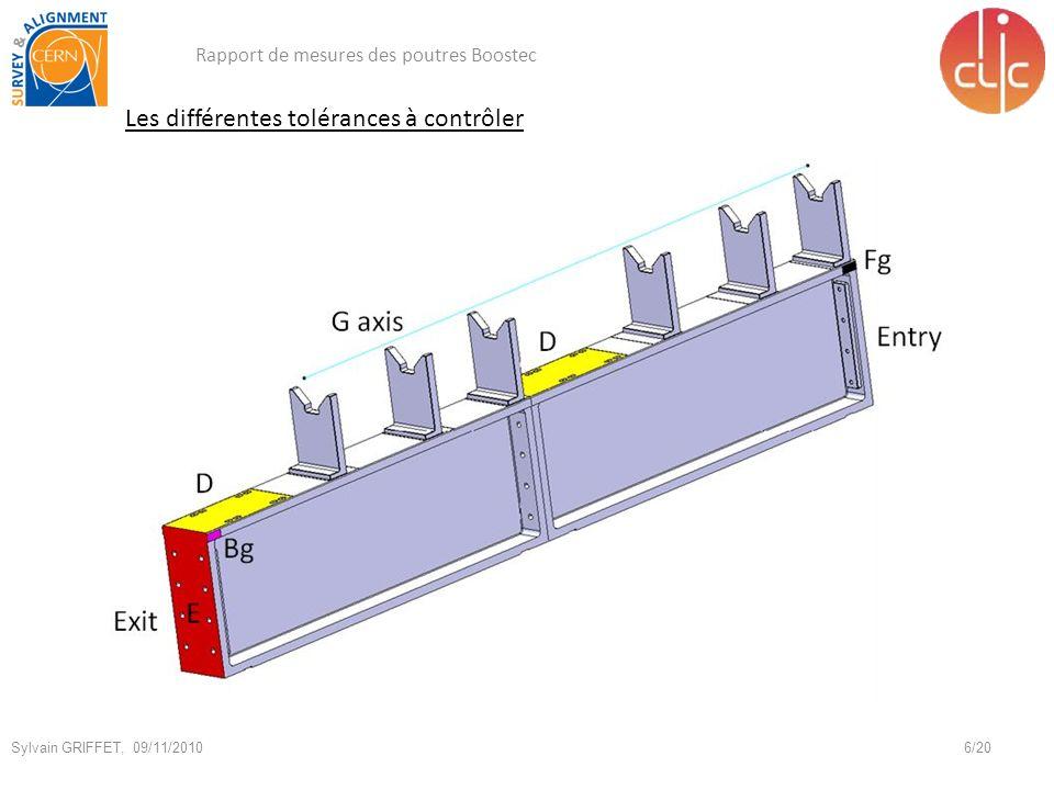 Les différentes tolérances à contrôler Rapport de mesures des poutres Boostec 6/20 Sylvain GRIFFET, 09/11/2010