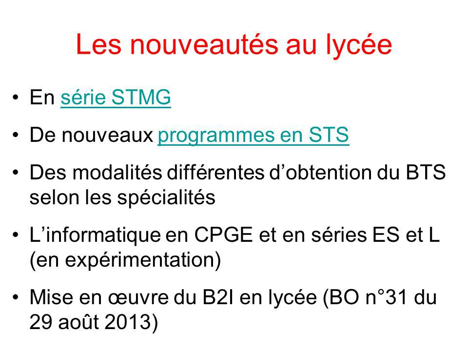 Les nouveautés au lycée En série STMGsérie STMG De nouveaux programmes en STSprogrammes en STS Des modalités différentes dobtention du BTS selon les s