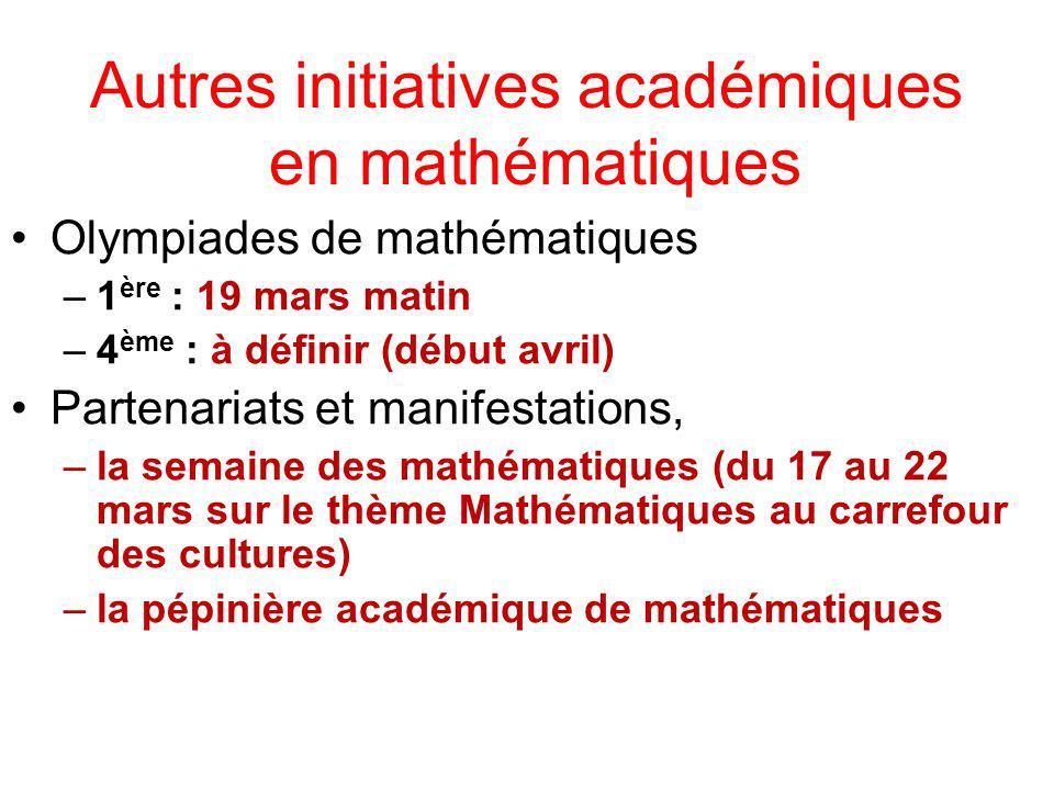 Autres initiatives académiques en mathématiques Olympiades de mathématiques –1 ère : 19 mars matin –4 ème : à définir (début avril) Partenariats et ma