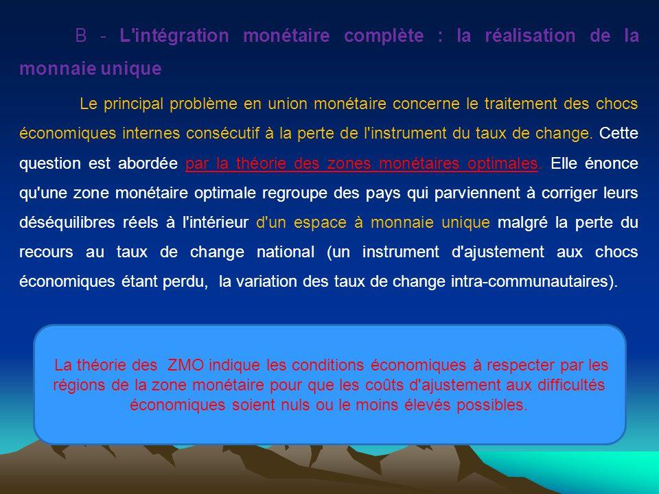 B - L'intégration monétaire complète : la réalisation de la monnaie unique Le principal problème en union monétaire concerne le traitement des chocs é