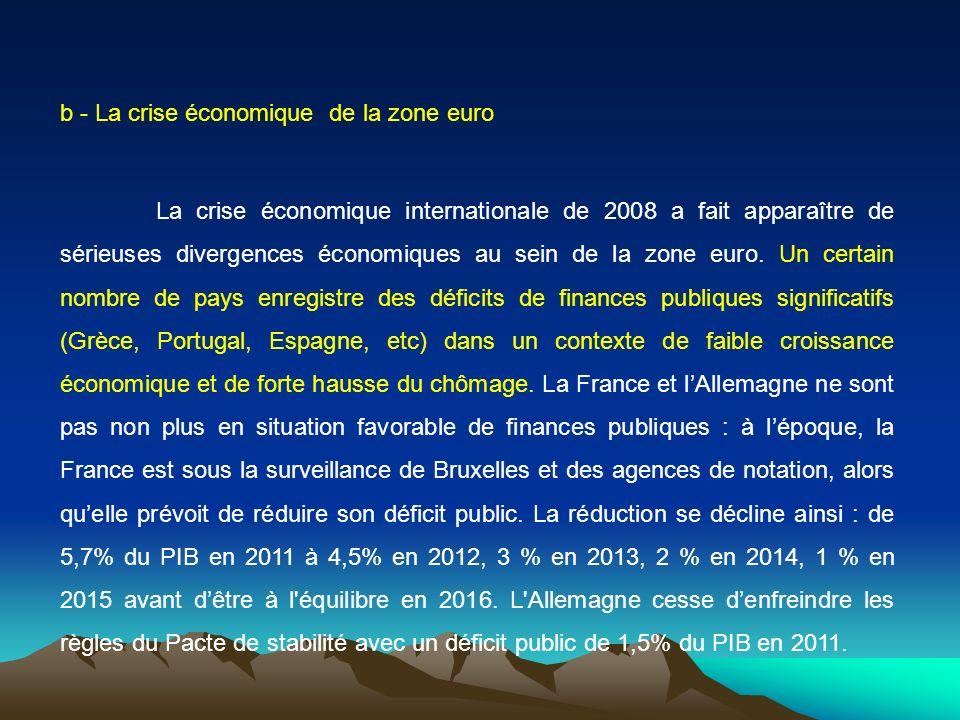 b - La crise économique de la zone euro La crise économique internationale de 2008 a fait apparaître de sérieuses divergences économiques au sein de l
