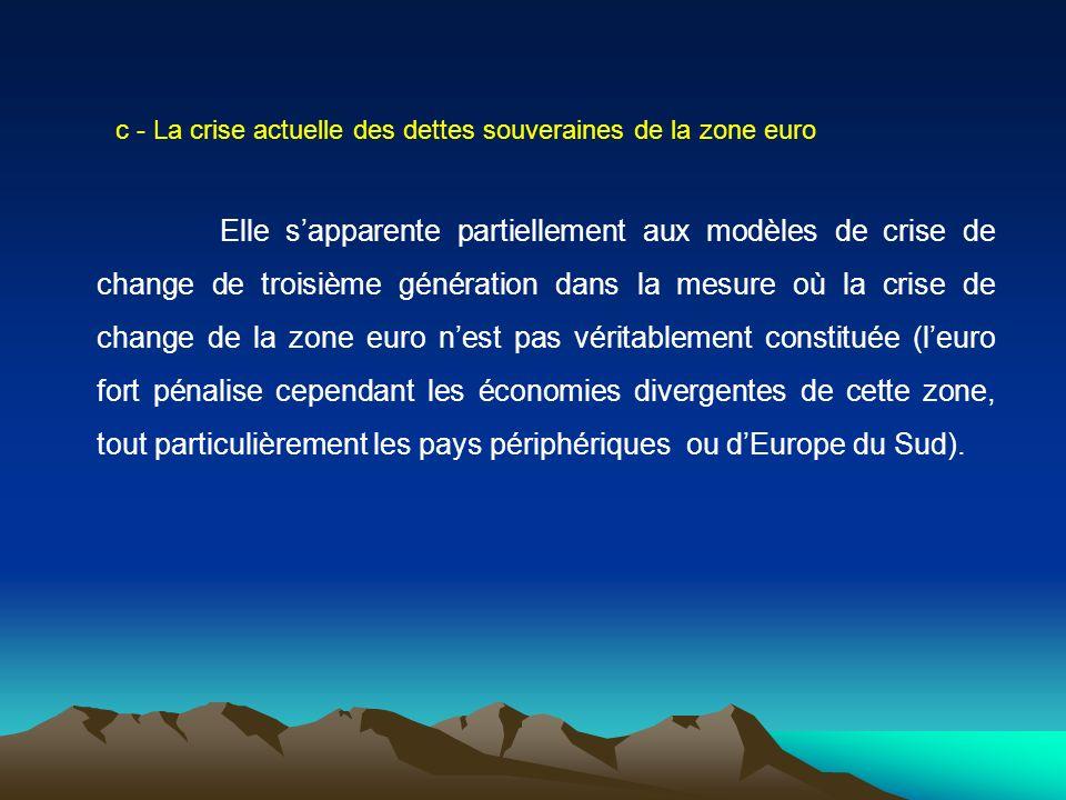 c - La crise actuelle des dettes souveraines de la zone euro Elle sapparente partiellement aux modèles de crise de change de troisième génération dans