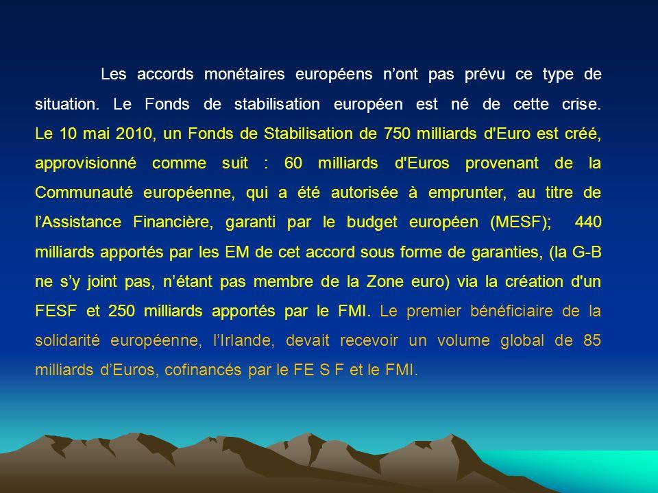 Les accords monétaires européens nont pas prévu ce type de situation. Le Fonds de stabilisation européen est né de cette crise. Le 10 mai 2010, un Fon