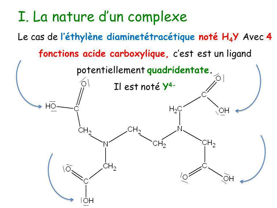 I. La nature dun complexe Le cas de léthylène diaminetétracétique noté H 4 Y Avec 4 fonctions acide carboxylique, cest est un ligand potentiellement q