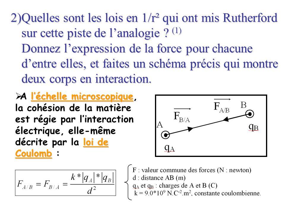 2)Quelles sont les lois en 1/r² qui ont mis Rutherford sur cette piste de lanalogie ? (1) Donnez lexpression de la force pour chacune dentre elles, et
