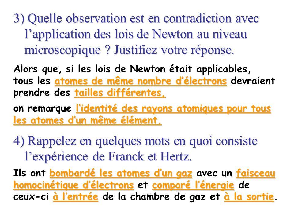 3) Quelle observation est en contradiction avec lapplication des lois de Newton au niveau microscopique ? Justifiez votre réponse. Alors que, si les l