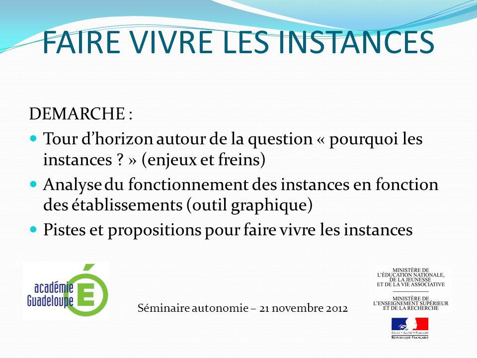 FAIRE VIVRE LES INSTANCES Séminaire autonomie – 21 novembre 2012 DEMARCHE : Tour dhorizon autour de la question « pourquoi les instances ? » (enjeux e