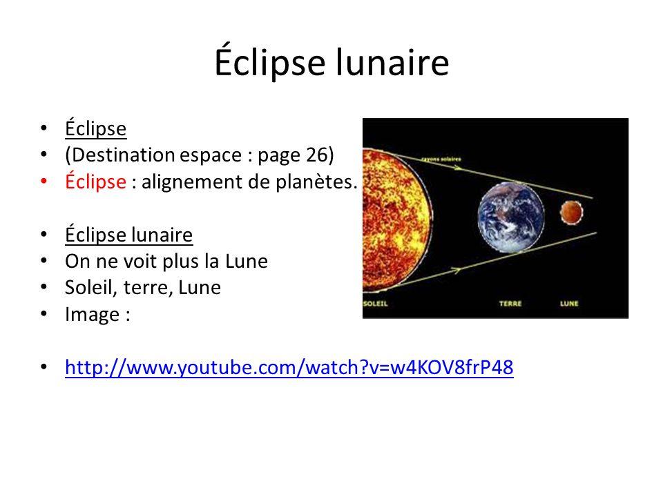 Éclipse lunaire Éclipse (Destination espace : page 26) Éclipse : alignement de planètes. Éclipse lunaire On ne voit plus la Lune Soleil, terre, Lune I