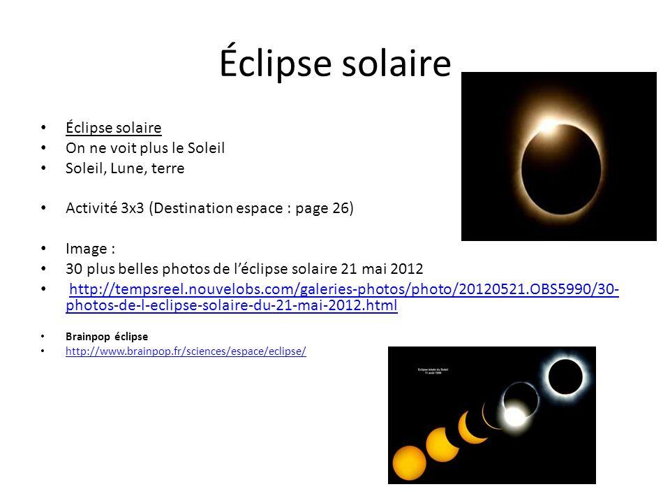 Éclipse solaire On ne voit plus le Soleil Soleil, Lune, terre Activité 3x3 (Destination espace : page 26) Image : 30 plus belles photos de léclipse so