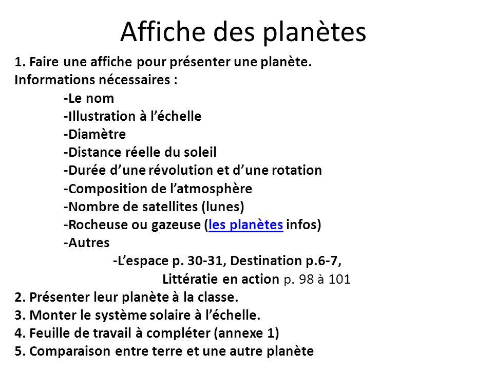 Affiche des planètes 1. Faire une affiche pour présenter une planète. Informations nécessaires : -Le nom -Illustration à léchelle -Diamètre -Distance