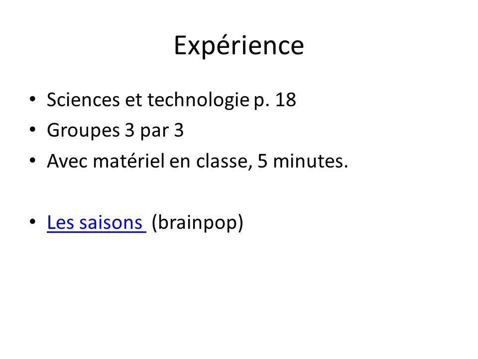 Expérience Sciences et technologie p. 18 Groupes 3 par 3 Avec matériel en classe, 5 minutes. Les saisons (brainpop) Les saisons