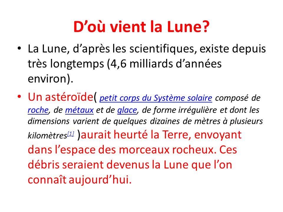 Doù vient la Lune? La Lune, daprès les scientifiques, existe depuis très longtemps (4,6 milliards dannées environ). Un astéroïde( petit corps du Systè