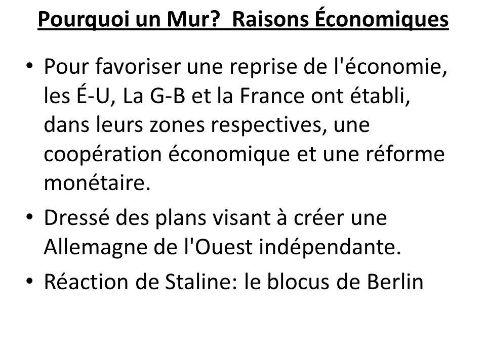 Pourquoi un Mur? Raisons Économiques Pour favoriser une reprise de l'économie, les É-U, La G-B et la France ont établi, dans leurs zones respectives,