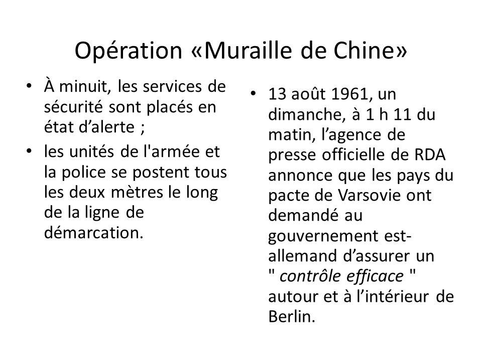 Opération «Muraille de Chine» À minuit, les services de sécurité sont placés en état dalerte ; les unités de l armée et la police se postent tous les deux mètres le long de la ligne de démarcation.