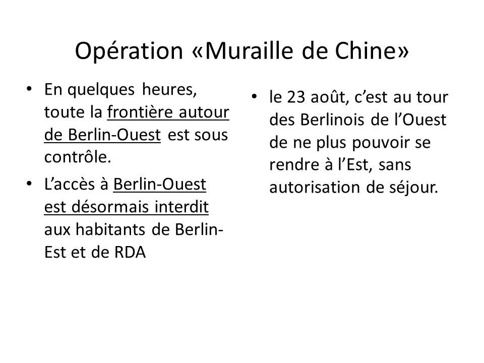 Opération «Muraille de Chine» En quelques heures, toute la frontière autour de Berlin-Ouest est sous contrôle. Laccès à Berlin-Ouest est désormais int