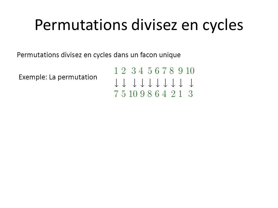 Permutations divisez en cycles Permutations divisez en cycles dans un facon unique Exemple: La permutation est plus transparente écrite comme (1 7 4 9) (2 5 8) (3 10) (6) Toutes les permutations peuvent être écrites en un produit de cycles (chacun impliquant des éléments tout à fait différentes) d une manière unique, mis à part l ordre dans lequel les cycles sont écrites et l élément avec laquelle chaque cycle commence ; par exemple les égaux ci-dessus (6) (2 5 8) (10 3) (7 4 9 1) ou (10 3) (9 1 7 4) (6) (8 2 5)