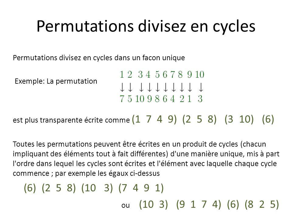 Le code génétique des permutations La décomposition d une permutation dans le cycle ne peuvent pas être répartie tout plus, donc les cycles sont les composantes fondamentales de permutations.