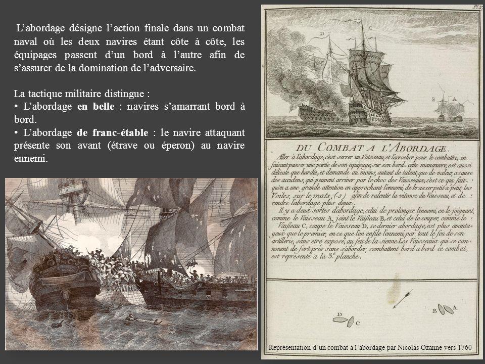 Labordage désigne laction finale dans un combat naval où les deux navires étant côte à côte, les équipages passent dun bord à lautre afin de sassurer