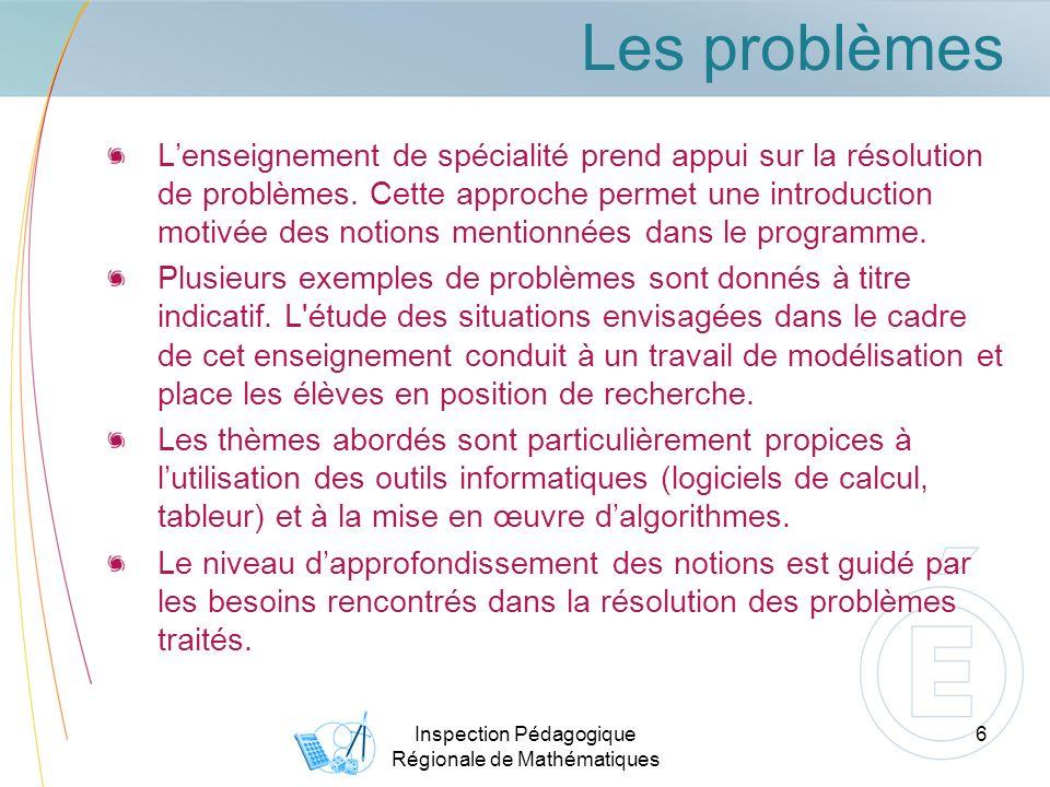 Les problèmes Lenseignement de spécialité prend appui sur la résolution de problèmes.