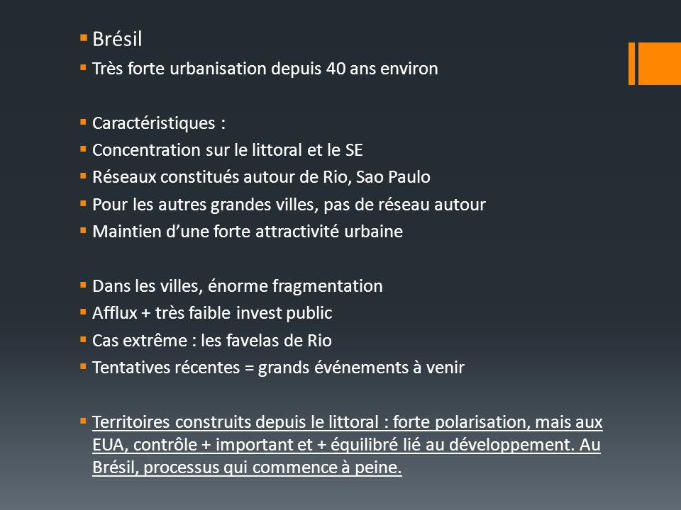 Brésil Très forte urbanisation depuis 40 ans environ Caractéristiques : Concentration sur le littoral et le SE Réseaux constitués autour de Rio, Sao Paulo Pour les autres grandes villes, pas de réseau autour Maintien dune forte attractivité urbaine Dans les villes, énorme fragmentation Afflux + très faible invest public Cas extrême : les favelas de Rio Tentatives récentes = grands événements à venir Territoires construits depuis le littoral : forte polarisation, mais aux EUA, contrôle + important et + équilibré lié au développement.
