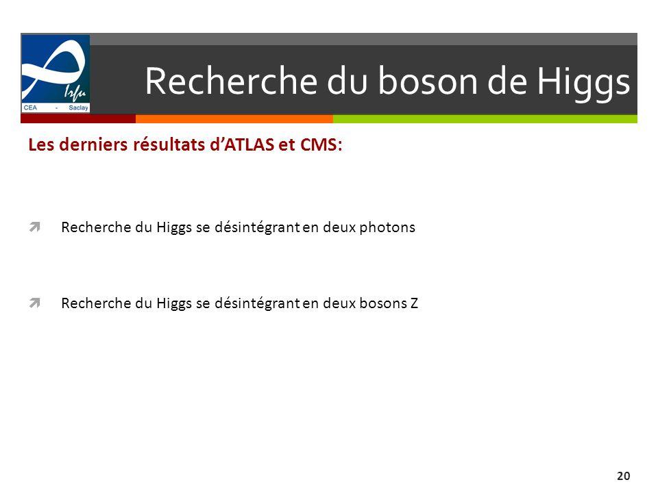Recherche du boson de Higgs 20 Les derniers résultats dATLAS et CMS: Recherche du Higgs se désintégrant en deux photons Recherche du Higgs se désintég