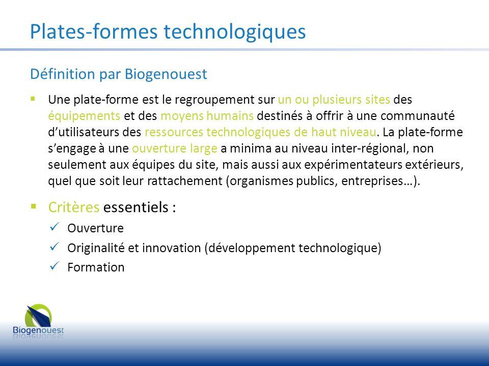 Plates-formes technologiques Définition par Biogenouest Une plate-forme est le regroupement sur un ou plusieurs sites des équipements et des moyens hu
