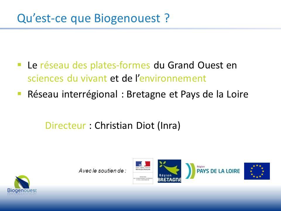 Le réseau des plates-formes du Grand Ouest en sciences du vivant et de lenvironnement Réseau interrégional : Bretagne et Pays de la Loire Directeur :