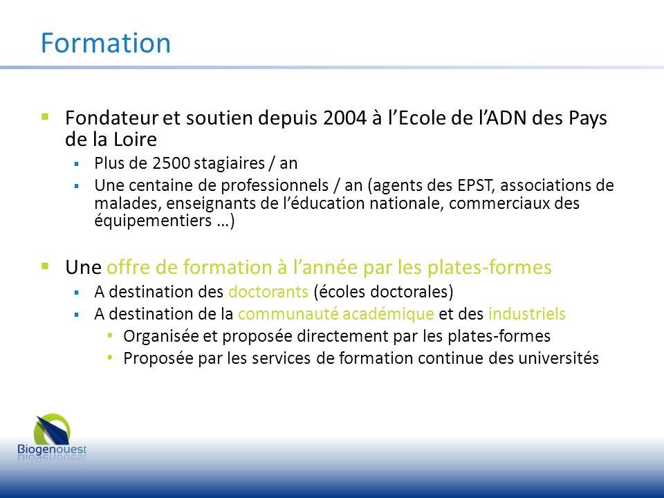 Fondateur et soutien depuis 2004 à lEcole de lADN des Pays de la Loire Plus de 2500 stagiaires / an Une centaine de professionnels / an (agents des EP