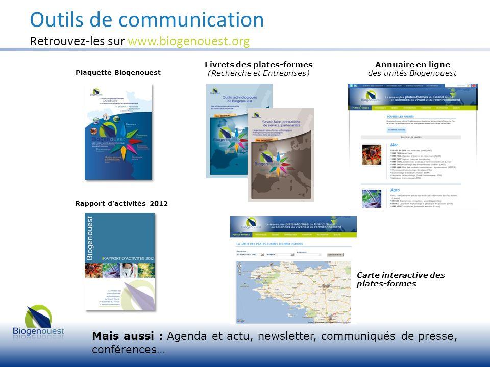 Outils de communication Retrouvez-les sur www.biogenouest.org Plaquette Biogenouest Livrets des plates-formes (Recherche et Entreprises) Mais aussi :