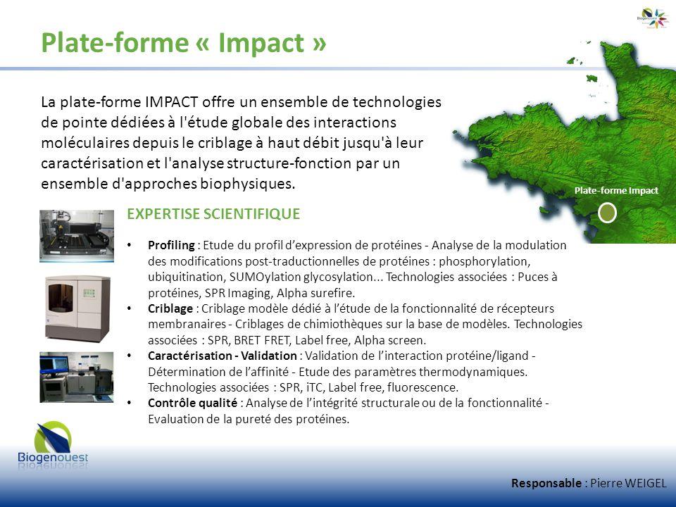 Plate-forme « Impact » La plate-forme IMPACT offre un ensemble de technologies de pointe dédiées à l'étude globale des interactions moléculaires depui